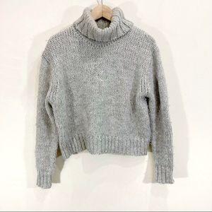 J.Crew Wool Alpaca Grey Knit Chunky Turtleneck Sweater Medium